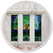 Winter Quarters Temple Tree Of Life Stained Glass Window Details Round Beach Towel