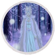 Round Beach Towel featuring the painting Winter Queen by Amyla Silverflame