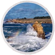 Winter Rainbows In The Surf Round Beach Towel