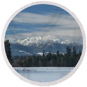 Round Beach Towel featuring the photograph Winter by Randy Hall