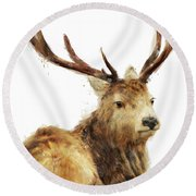 Winter Red Deer Round Beach Towel