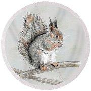 Winter Red Squirrel Round Beach Towel