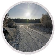 Winter Road Round Beach Towel