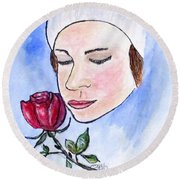 Winter Rose Round Beach Towel