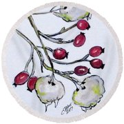 Winter Rose Hips Round Beach Towel