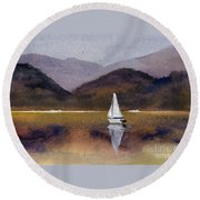 Winter Sailing At Our Island Round Beach Towel