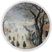 Winter Scene Round Beach Towel by Hendrik Avercamp