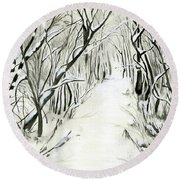 Round Beach Towel featuring the painting Winter Scene by Nadine Dennis