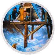 Winter Scene Three Kids And Dog Playing In A Treehouse Round Beach Towel