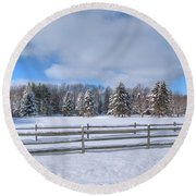 Round Beach Towel featuring the photograph Winter Scenery 14589 by Guy Whiteley