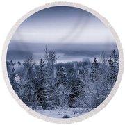 Winter Scenery Of The Lake Hiidenvesi Bw Round Beach Towel