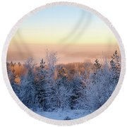 Winter Scenery Of The Lake Hiidenvesi Round Beach Towel