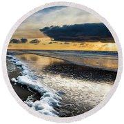 Winter Sea Sunset Round Beach Towel