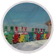 Round Beach Towel featuring the painting Winter Sentries by Lynne Reichhart