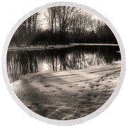 Winter Sepia Round Beach Towel by Betsy Zimmerli
