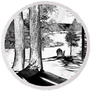 Round Beach Towel featuring the photograph Winter Shadows by David Patterson