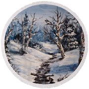 Winter Silence Round Beach Towel