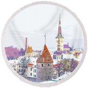 Winter Skyline Of Tallinn Estonia Round Beach Towel