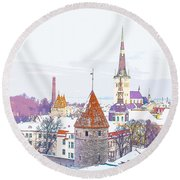 Winter Skyline Of Tallinn Estonia Round Beach Towel