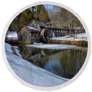 Winter Snow At Mabry Mill Round Beach Towel