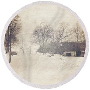 Winter Snow Storm At The Farm Round Beach Towel