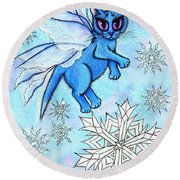 Winter Snowflake Fairy Cat Round Beach Towel