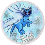 Winter Snowflake Fairy Cat Round Beach Towel