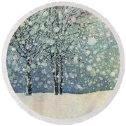 Round Beach Towel featuring the painting Winter Sonnet by Hailey E Herrera