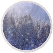 Winter Sparkle Round Beach Towel by Kathy Bassett