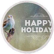 Winter Sparrow Holiday Card Round Beach Towel