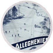 Winter Sports In The Alleghenies Round Beach Towel