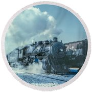 Winter Steam Train Round Beach Towel by Randy Steele