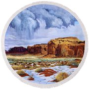 Winter Storm In Mystery Valley Round Beach Towel