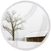 Winter Storm On The Farm Round Beach Towel