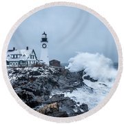 Winter Storm, Portland Headlight Round Beach Towel