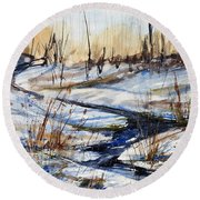 Winter Stream Round Beach Towel by Judith Levins