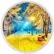 Winter Street Round Beach Towel