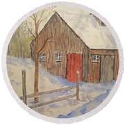 Winter Sugar House Round Beach Towel