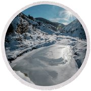 Round Beach Towel featuring the photograph Winter Sun by Okan YILMAZ