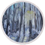 Round Beach Towel featuring the painting Winter Sun by Robin Maria Pedrero
