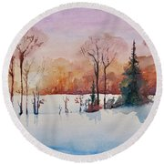 Round Beach Towel featuring the painting Winter Sunrise by Geni Gorani