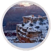 Winter Sunrise - Mather Point Grand Canyon Round Beach Towel