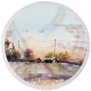 Winter Sunrise On The Lane Round Beach Towel by Judith Levins