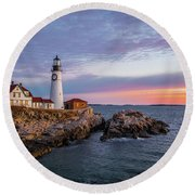 Winter Sunrise Over Portland Head Light Round Beach Towel