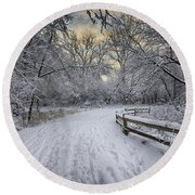 Round Beach Towel featuring the photograph Winter Sunrise by Sebastian Musial