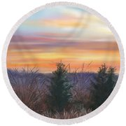 Winter Sunrise Round Beach Towel