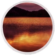 Winter Sunset Afterglow Reflection Round Beach Towel