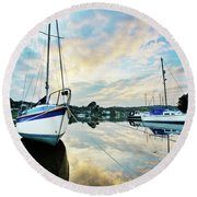 Winter Sunset At Mylor Bridge Round Beach Towel