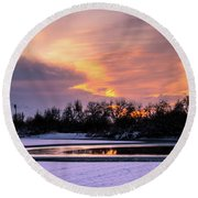 Round Beach Towel featuring the photograph Winter Sunset by Bryan Carter
