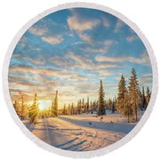 Winter Sunset Round Beach Towel by Delphimages Photo Creations
